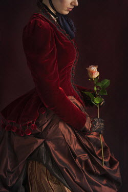 Lee Avison HISTORICAL WOMAN WITH PINK ROSE Women