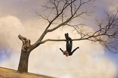 Terry Bidgood BLOND GIRL HANGING FROM TREE BRANCH Women