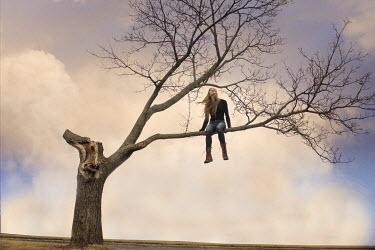 Terry Bidgood BLOND GIRL SITTING IN TREE Women