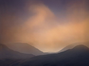 Adrian Leslie Campfield MISTY MOUNTAINS AT SUNRISE Rocks/Mountains