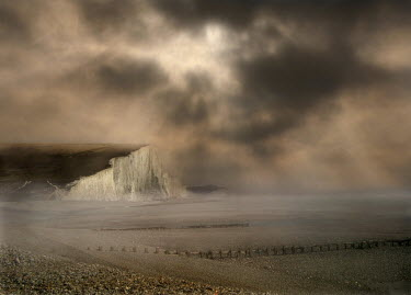 Adrian Leslie Campfield CLIFFS UNDER STORMY NIGHT SKY Seascapes/Beaches