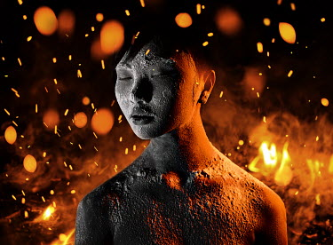 Igor Burba WOMAN SURROUNDED BY SPARKS OF FIRE Women