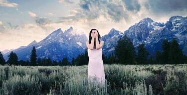 Sarah Ann Loreth WOMAN STANDING ON MOUNTAIN PLAINS Women