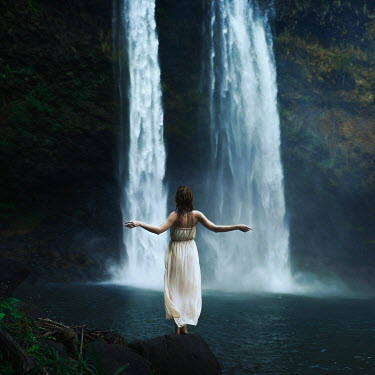 Sarah Ann Loreth YOUNG WOMAN BY WATER FALL Women