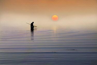 Adrian Leslie Campfield MAN FISHING AT SUNSET Men