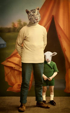 Martine Roch TIGER AND LAMB DRESSED AS FATHER AND SON Animals