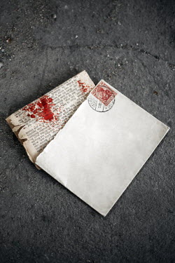 Joanna Jankowska BLOODY PAGE OF BOOK IN ENVELOP Miscellaneous Objects