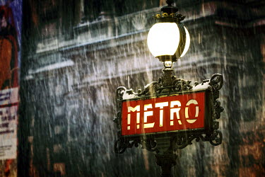 Remy Perthuisot OLD PARIS METRO SIGN IN RAIN Building Detail