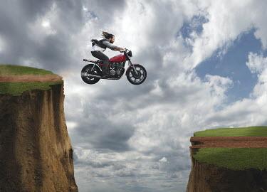 Logan Zillmer MAN ON MOTORBIKE JUMPING OVER CLIFF Men