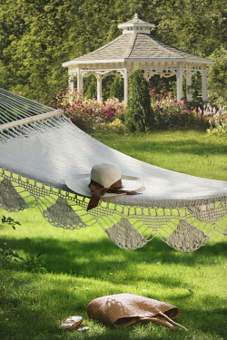 Sandra Cunningham HAMMOCK AND HAT IN SUMMERY GARDEN Miscellaneous Objects