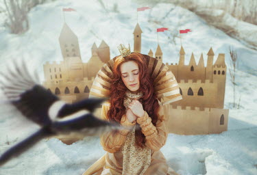Irina Brana SURREAL RED HAIRED WOMAN BY CASTLE Women