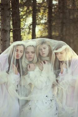 Irina Brana FOUR GIRLS UNDER VEIL IN FOREST Women