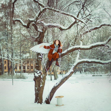 Irina Brana surreal GIRL SAT IN TREE IN SNOW Women
