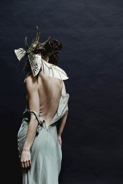Elisa Lazo de Valdez WOMAN WITH EXPOSED BACK AND INSECT MASK Women