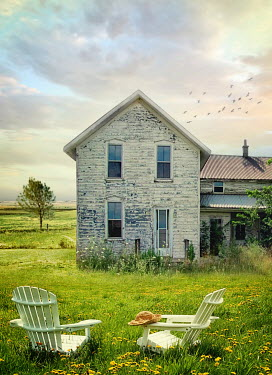 Sandra Cunningham FARM HOUSE AND CHAIRS IN FIELD OF FLOWERS Houses