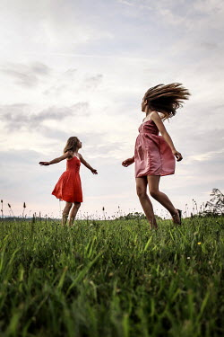 Stephen Carroll TWO GIRLS PLAYING IN FIELD Children