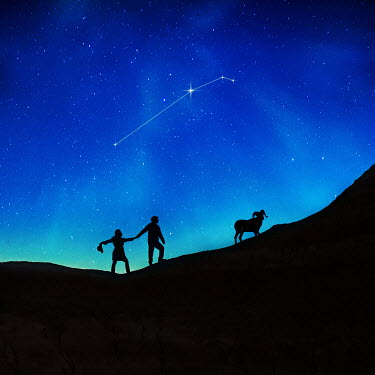 Sarah Ann Loreth SILHOUETTE OF COUPLE AND RAM AT NIGHT Rocks/Mountains