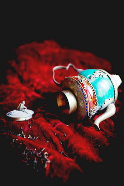 Laura Blost TEA POT AND TEA LEAVES ON RED VELVET Miscellaneous Objects