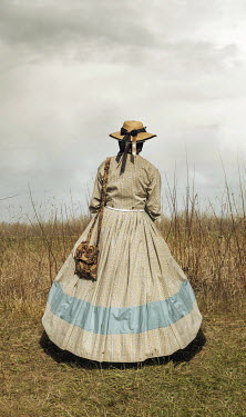 Stephen Mulcahey LADY DRESSED IN VINTAGE CIVIL WAR ATTIRE Women
