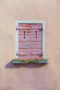 Paul Grand CLOSED WINDOW WITH PINK SHUTTERS Building Detail
