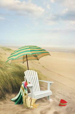 Sandra Cunningham CHAIR AND UMBRELLA ON SANDY BEACH Seascapes/Beaches