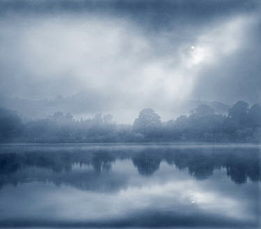 Adrian Leslie Campfield TREES REFLECTED IN FOGGY LAKE Lakes/Rivers
