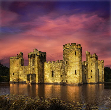 Adrian Leslie Campfield CASTLE ON WATER UNDER PINK CLOUDY SKY Houses