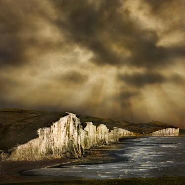 Adrian Leslie Campfield STORMY CLOUDS OVER CLIFFS AND SEASCAPE Seascapes/Beaches