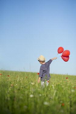 Carmen Spitznagel BOY HOLDING RED BALLOONS IN FIELD Children