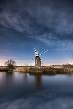 Ollie Taylor WINDMILL AND LAKE UNDER STARRY SKY Miscellaneous Buildings
