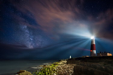 Ollie Taylor LIGHTHOUSE AND WATER UNDER STARRY SKY Miscellaneous Buildings