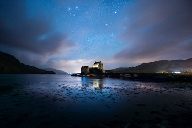 Ollie Taylor CASTLE BESIDE WATER UNDER STARRY SKY Houses