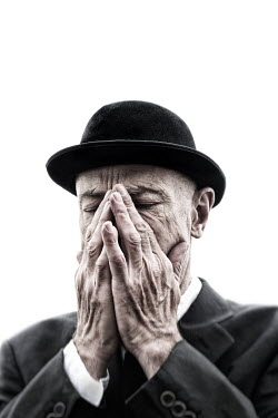 Tim Robinson SAD OLDER MAN WEARING BOWLER HAT Old People