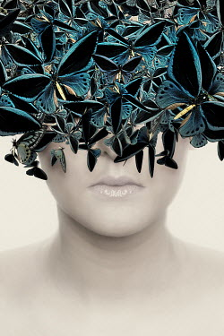 Victor Habbick SURREAL WOMAN WITH BUTTERFLIES COVERING FACE Women