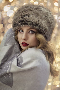 Maja Topcagic WOMAN WEARING FURRY HAT CLOSE UP Women