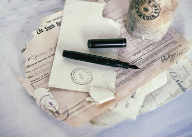 Jill Ferry TORN DOCUMENTS AND INK PEN STILL LIFE Miscellaneous Objects