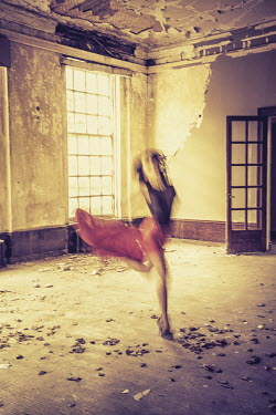 Nic Skerten WOMAN DANCING IN SHABBY ROOM Women