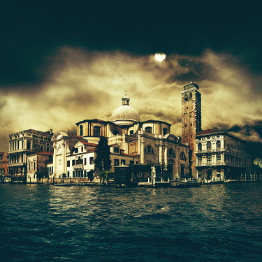 Dragan Todorovic VENICE BUILDINGS AT NIGHT BY MOONLIGHT Miscellaneous Cities/Towns