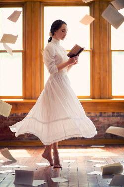 Susan Fox HISTORICAL WOMAN READING BESIDE WINDOWS Women