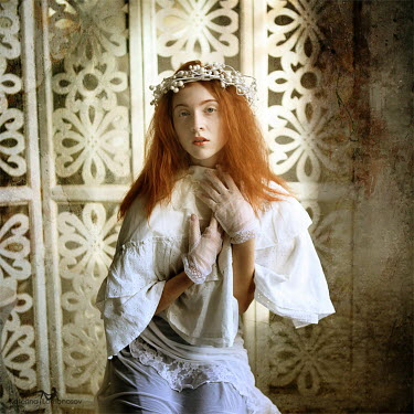 Katerina Lomonosov RED HAIRED WOMAN WEARING LACE GLOVES INSIDE Women