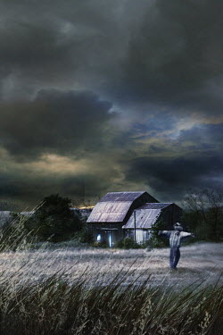 Sandra Cunningham COUNTRY BARN AT NIGHT WITH SCARECROW Miscellaneous Buildings