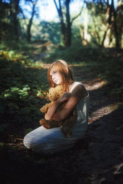 Terrence Drysdale YOUNG GIRL WITH TEDDY IN COUNTRYSIDE Children