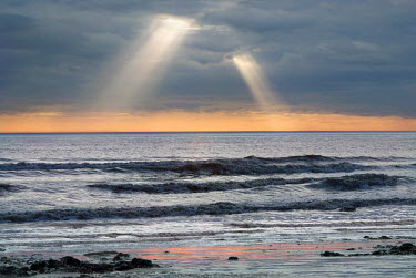Adrian Leslie Campfield SUNBURST THROUGH CLOUDS OVER SEA Seascapes/Beaches