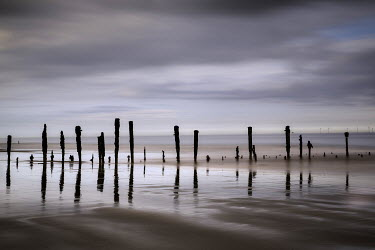 Tony Worobiec FENCE POLES REFLECTED IN SEA WATER Seascapes/Beaches