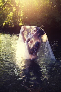 Samantha Meglioli WOMAN WITH CROWN AND VEIL IN LAKE Women