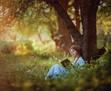 Irina Dzhul YOUNG WOMAN READING IN COUNTRYSIDE Women