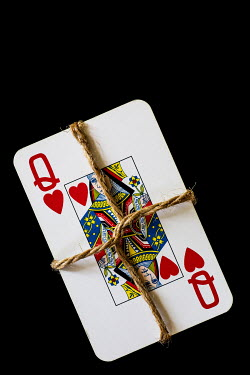 Trevor Payne QUEEN OF HEARTS PLAYING CARD TIED WITH STRING Miscellaneous Objects