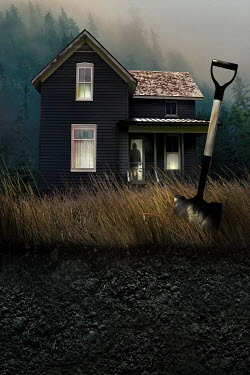 Sandra Cunningham SPOOKY FARMHOUSE WITH SPADE IN COUNTRY Men