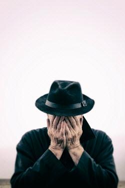 Tim Robinson SAD OLDER MAN WEARING TRILBY HAT OUTSIDE Men