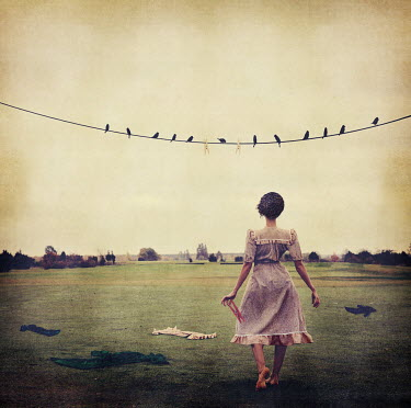 Kylli Sparre SURREAL WOMAN OUTSIDE NEAR WASHING LINE Women